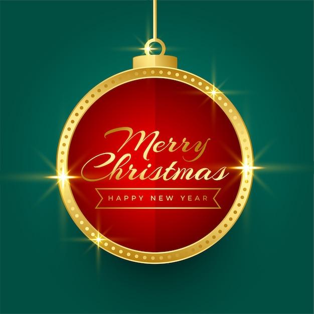 輝く黄金のクリスマスボールフレームの背景デザイン 無料ベクター
