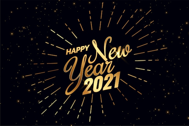 Shiny 2021 happy new year golden background Free Vector
