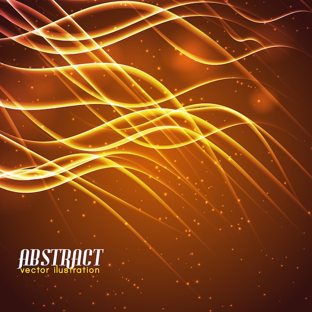 Shiny abstract wavy lines glowing and light effects on brown background Free Vector