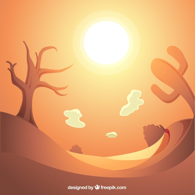 Shiny background of desert with dry tree and cactus Free Vector