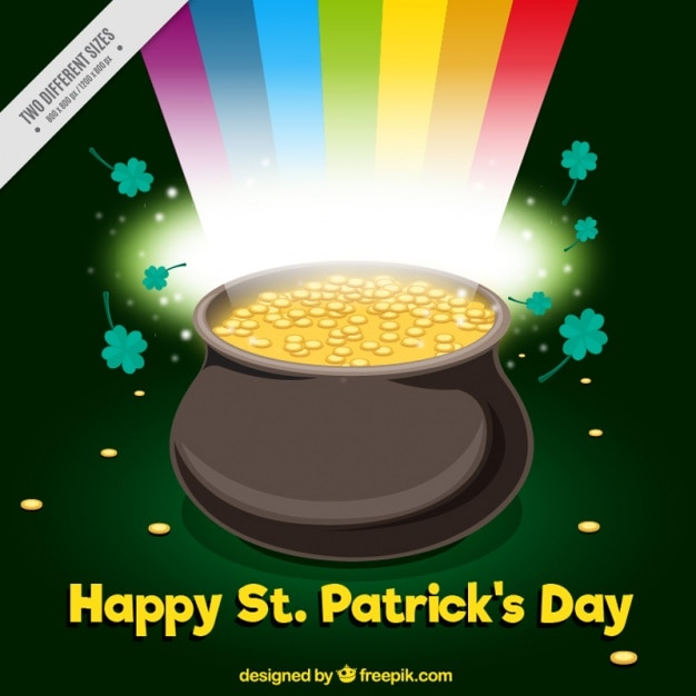 Shiny background with cauldron full of coins for st patrick's day Free Vector