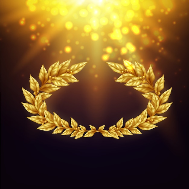 Shiny background with golden laurel wreath in in bright rays and glare realistic illustration Free Vector