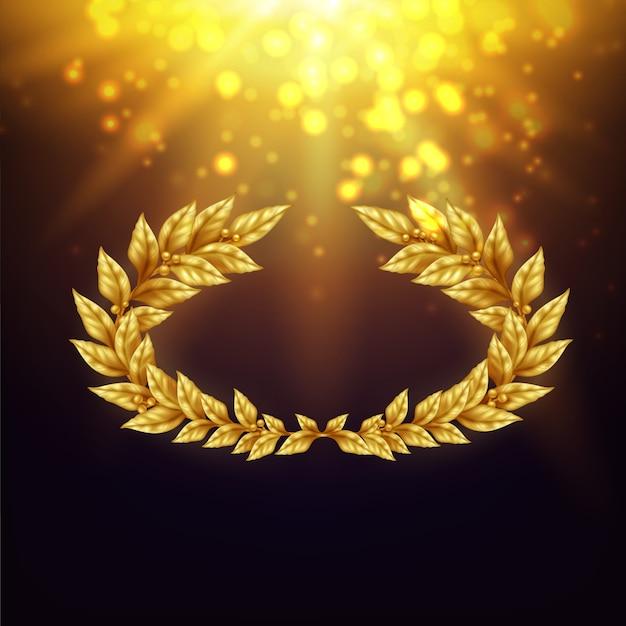 밝은 광선에 황금 월계관 빛나는 배경과 섬광 현실적인 그림 무료 벡터