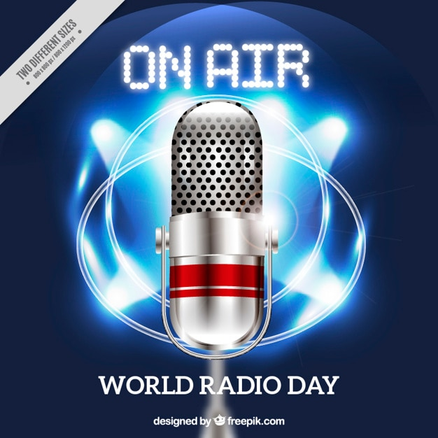 Shiny background with megaphone for world radio day Free Vector
