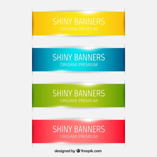 Shiny banners collection Free Vector