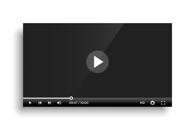 Shiny black video player bar template Free Vector