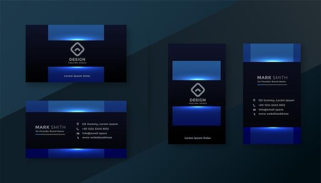 光沢のある青い魅力的な名刺テンプレートデザイン 無料ベクター