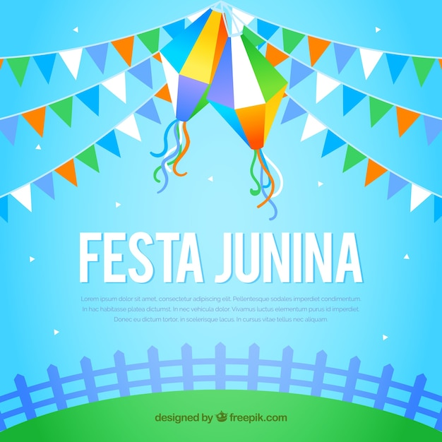 Shiny blue festa junina background