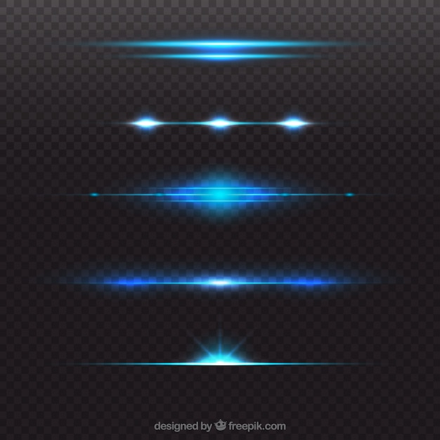 Shiny blue lens flare divider collection Free Vector