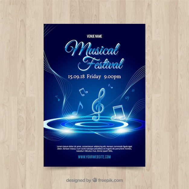 Shiny blue music poster template Free Vector