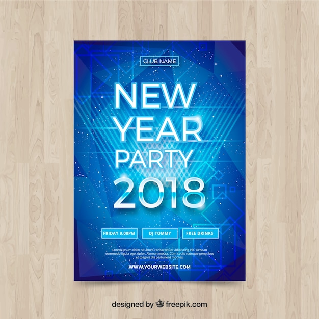 Shiny blue new year poster Free Vector