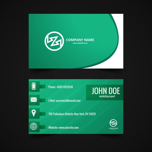 Shiny Business Card Design In Green Color Free Vector