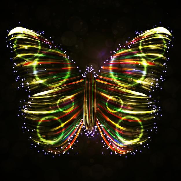 Блестящие бабочки абстрактный вектор, футуристические красочные полосы, стильные иллюстрации Premium векторы