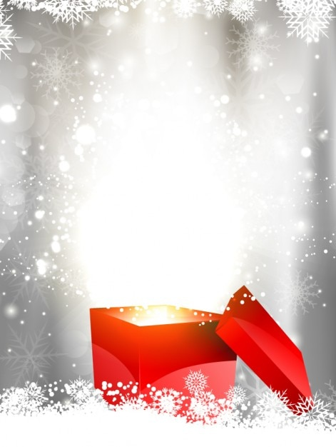 Shiny Christmas Background With Gift Box Vector Free