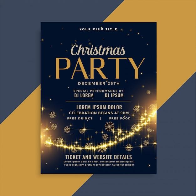 Shiny christmas golden sparkles party flyer design template Free Vector