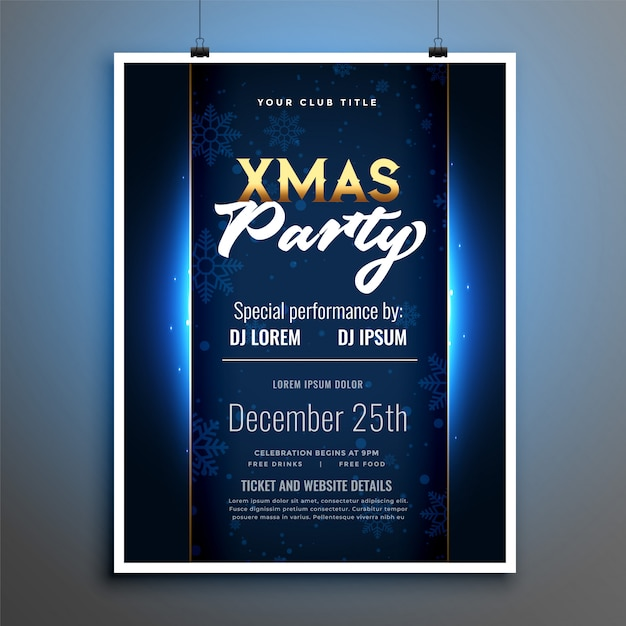 Shiny christmas party flyer poster template design Free Vector