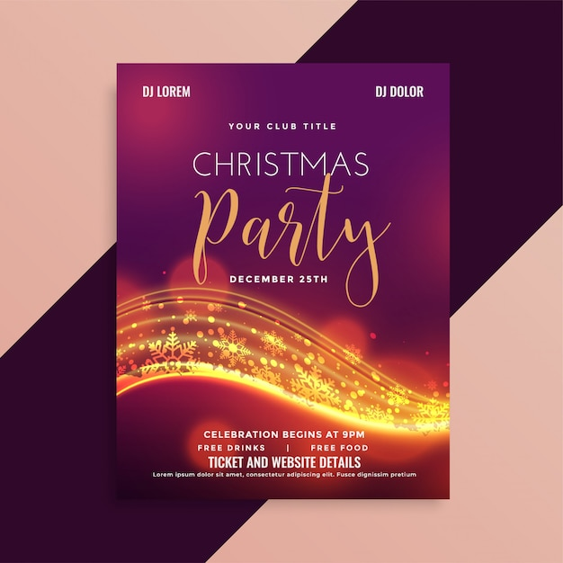 Shiny christmas party flyer with light streak Free Vector