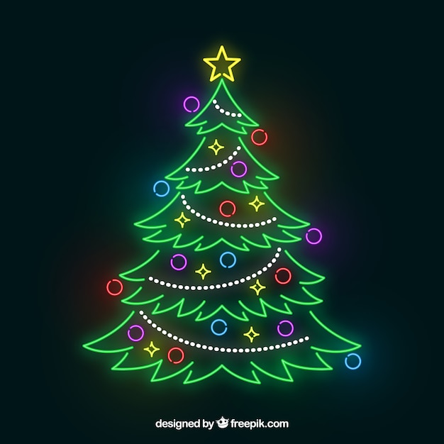 Shiny christmas tree out of neon lights Free Vector