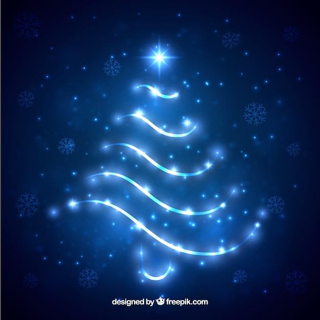 Shiny christmas tree silhouette
