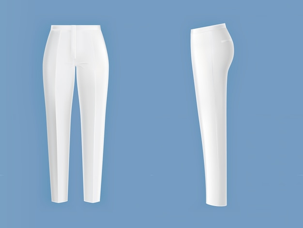 Shiny clean white womens pants Free Vector
