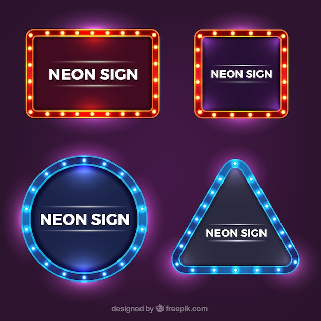 Shiny collection of neon signs with variety of designs Free Vector