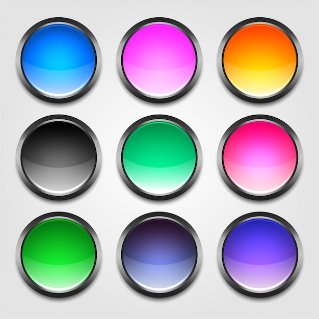 Shiny colorful empty buttons set Free Vector