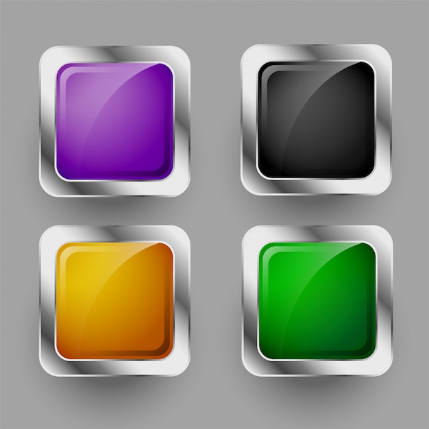 Shiny four rounded square buttons set Free Vector