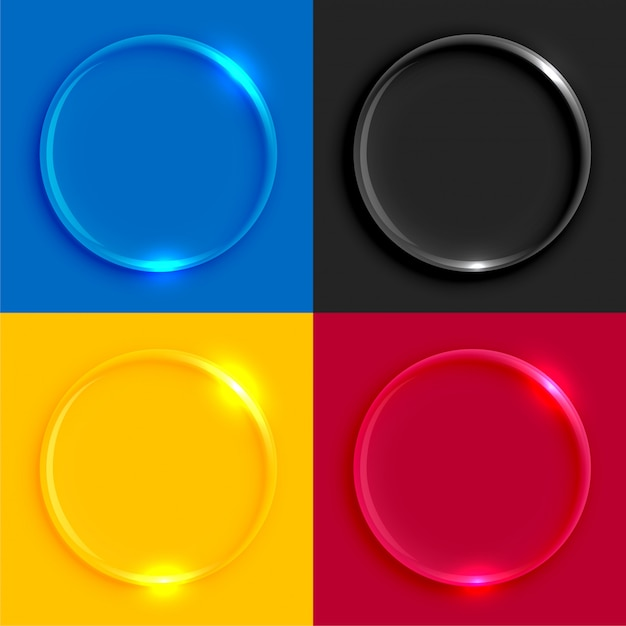 Shiny glass round buttons set Free Vector