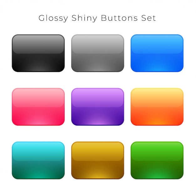 Shiny glossy empty buttons set Free Vector