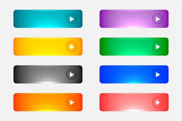 Shiny or glossy web empty colorful buttons set Free Vector