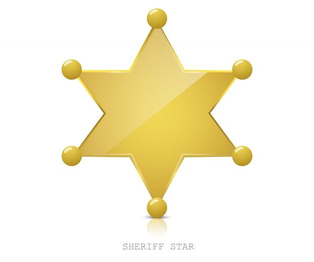 Блестящая золотая звезда шерифа Premium векторы