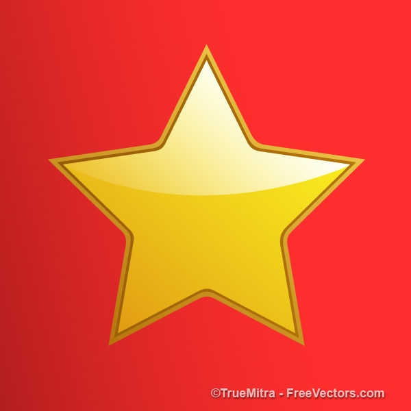Shiny Gold Star On Red Background Vector Free Download