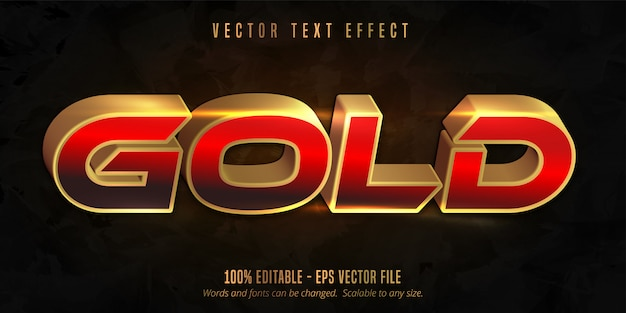 Shiny gold style text effect Premium Vector