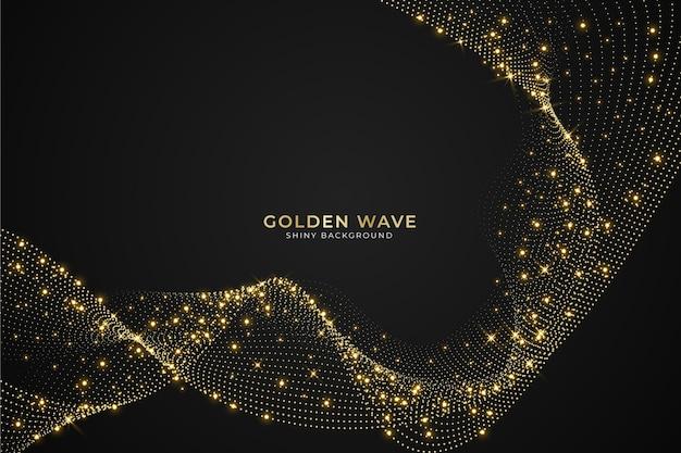Shiny gold wave background theme Premium Vector
