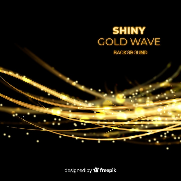 Shiny gold wave background Free Vector
