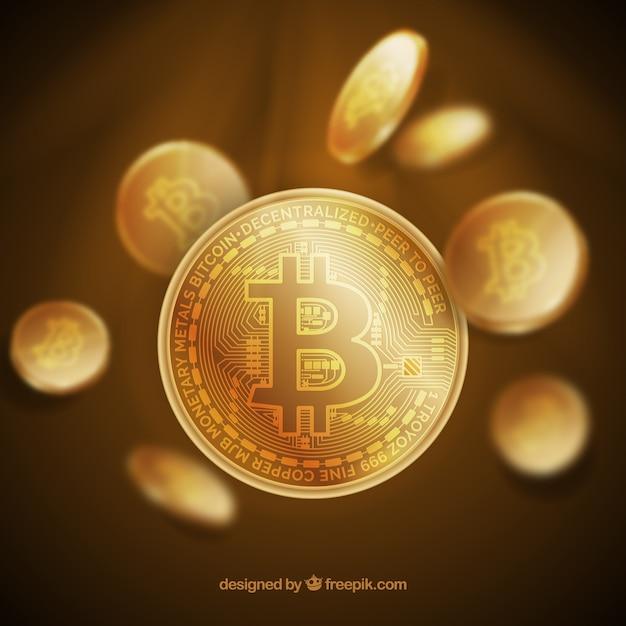 Shiny golden bitcoin design Free Vector