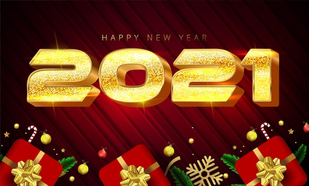 Shiny golden color style 2021 happy new year lettering, gift boxes, gold snowflakes, baubles, stars and pine leaves Premium Vector