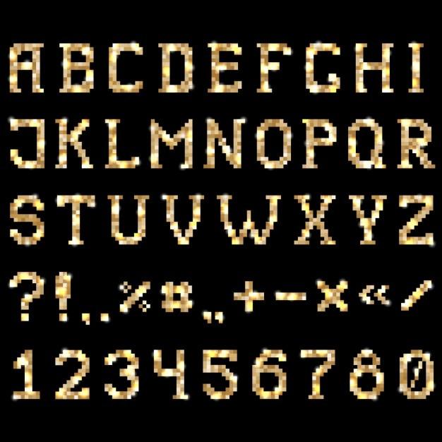 Shiny golden font Vector   Free Download
