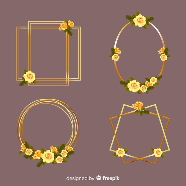 Shiny golden frame pack Free Vector