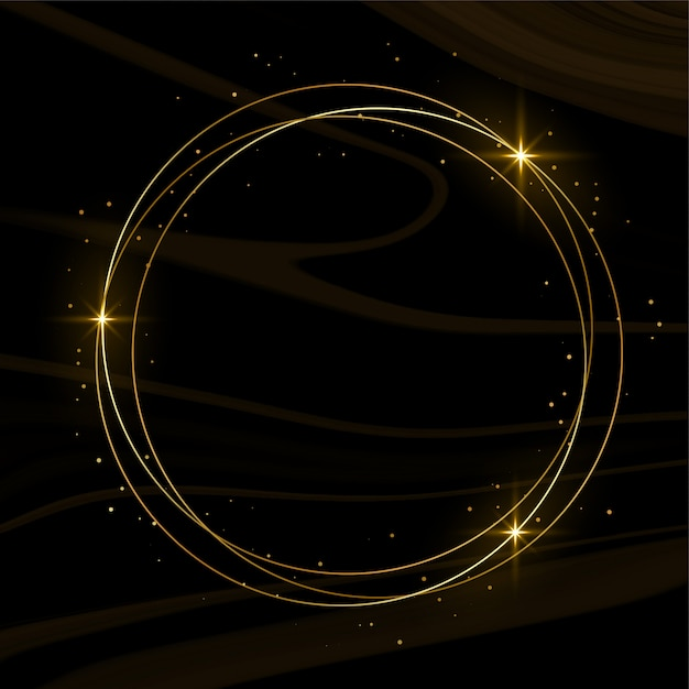 Shiny golden frame with sparkles and smoke Free Vector