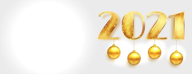 白いバナーにつまらないものをぶら下げて光沢のある黄金の新年2021 無料ベクター