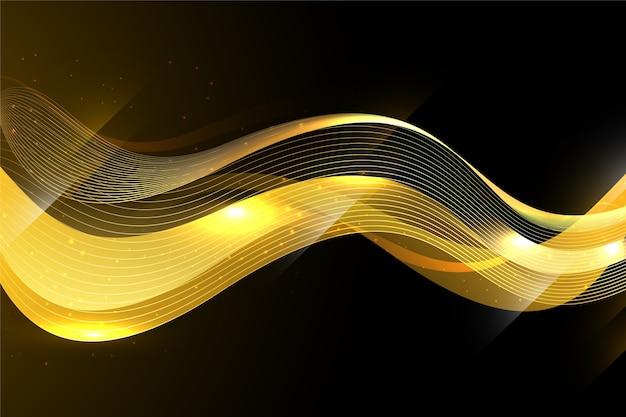 光沢のある黄金の波背景 無料ベクター