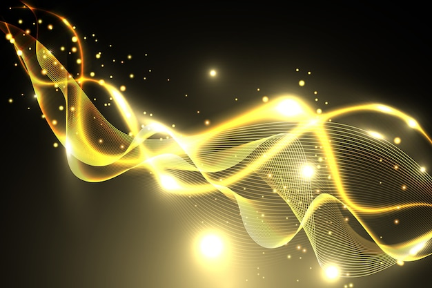 Shiny golden wave background Free Vector