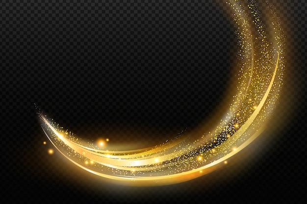 Блестящая золотая волна прозрачный фон Premium векторы