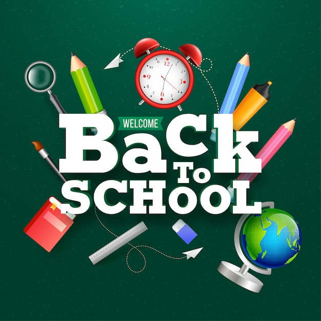 Shiny green background with text of back to school. stationery e Premium Vector