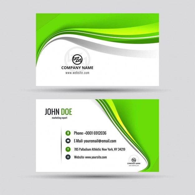 Shiny Green Business Card Vector