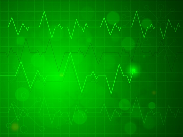 shiny green heartbeat pulse or electrocardiogram design