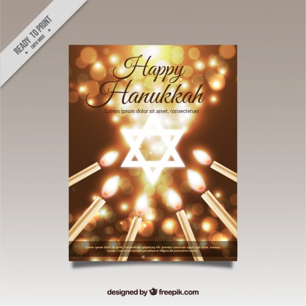 Shiny hanukkah greeting card with\ candles