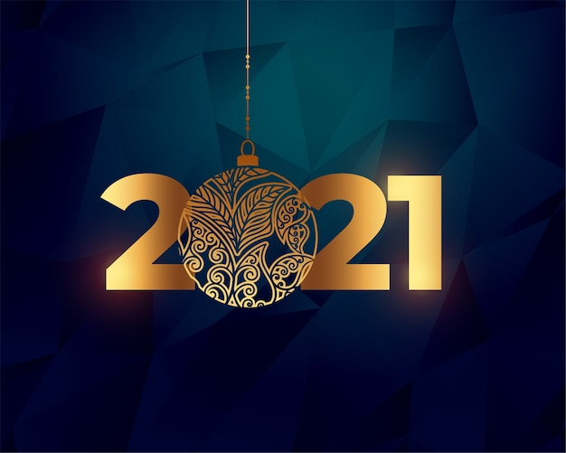 Shiny happy new year golden 2021 background design Free Vector