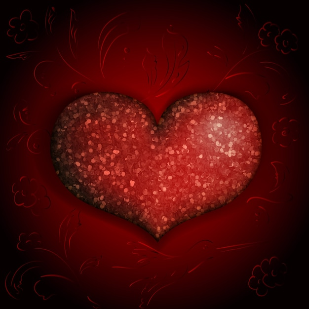Shiny heart on burgundy background with flowers and birds Free Vector